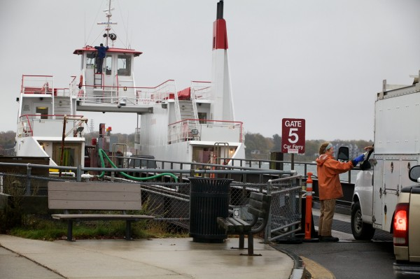 Trucks board the Peaks Island ferry in Portland Monday morning Oct. 29, 2012. Casco Bay Lines Chief Operations Officer Nicholas Mavodones said he expects no delays or cancelations in service.