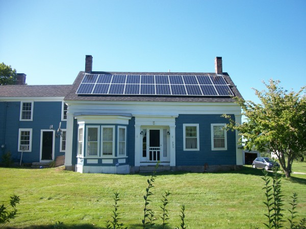 This household in midcoast Maine chose solar electricity and energy efficiency to combat their annual energy needs: 750 gallons of oil, plus 6 cords of wood, plus all the electricity it took to power an inefficient old water heater each year.