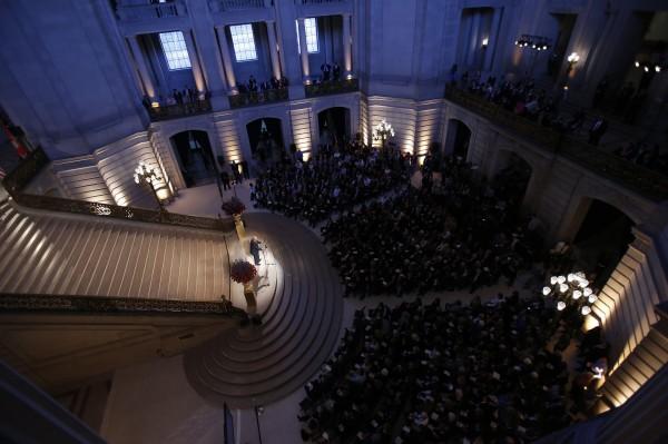 Former U.S. Secretary of State George Shultz speaks during a public memorial service for slain U.S. Ambassador to Libya Christopher Stevens in San Francisco, Calif., Oct. 16.