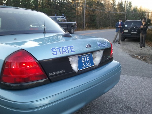 A Maine State Police cruiser blocks off the intersection of Route 1 and Mud Creek Road in Hancock on Tuesday, Oct. 23 2012.