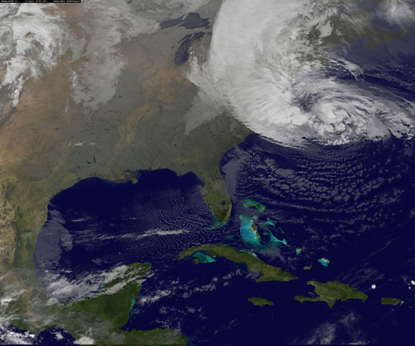 Hurricane Sandy is seen on the east coast of the United States in this NASA handout satellite image early Monday morning.
