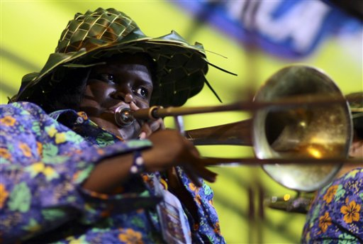 A trombone player with the San Andres band performs during the National Band Festival in Paipa, Colombia on Saturday, Oct. 6, 2012. Every year, Paipa hosts the nationwide competition for professional brass bands.