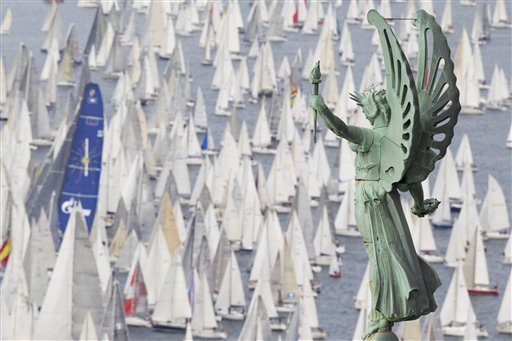 A view of sailboats taking part in the 44nd edition of the traditional &quotBarcolana&quot regatta in the gulf of Trieste, northeastern Italy, Sunday, Oct. 14, 2012. The Barcolana is an annual sailing race in the Gulf of Trieste with hundreds of participants which is described by the organizers as &quoteverybody's regatta.&quot In foreground, the &quotFaro della Vittoria&quot (Victory Lighthouse).