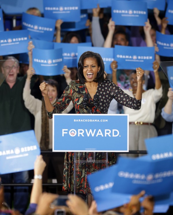 First lady Michelle Obama speaks to supporters during a campaign event at the Loudoun County Fairgrounds, Tuesday, Oct. 9, 2012, in Leesburg, Va.