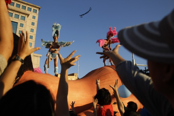 Costumed revelers march in the annual &quotDream Parade&quot Saturday, Oct. 20, 2012 in Taipei, Taiwan.