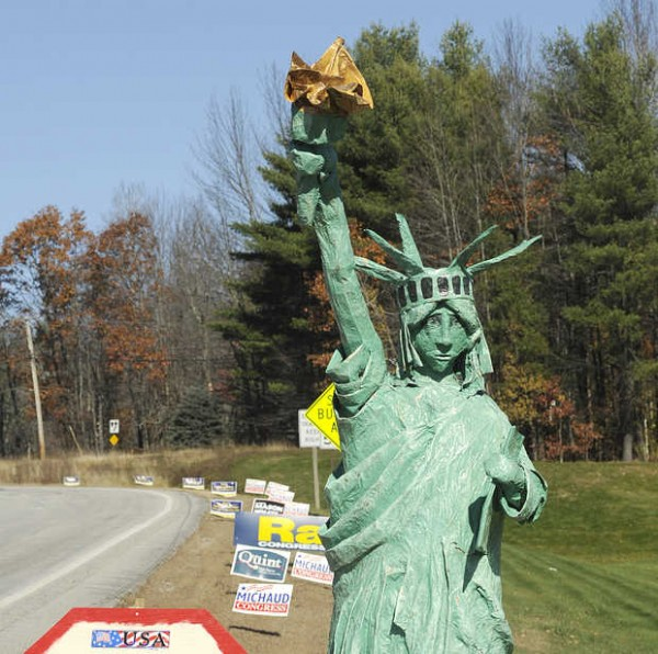 A 9-foot papier-mache Statue of Liberty stands near the intersection of Routes 4 and 117 in Turner before it was stolen sometime between Thursday evening and Friday morning. She was returned Saturday.