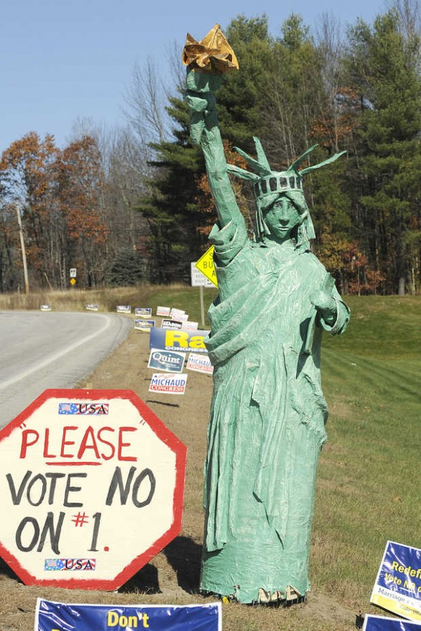 A 9-foot papier-mache Statue of Liberty stands near the intersection of Routes 4 and 117 in Turner before it was stolen sometime between Thursday evening and Friday morning.
