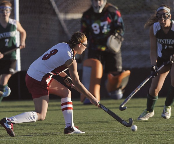 Dexter High School field hockey midfielder Libby Kain (3) attempts a shot on goal in the second half of their game against Winthrop High School  in the Class C Eastern Maine Championship game in Hampden, Maine, Tuesday, Oct. 23, 2012.