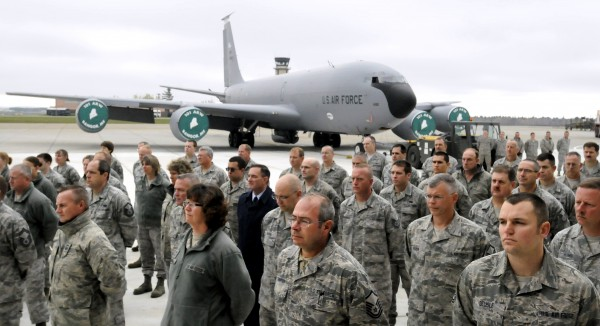 Guardsmen attend the ceremony of the official opening of teh new hangar at the 101st Air Refueling Wing base in Bangor Friday. In the background is a  KC-135R.