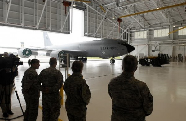 A KC-135R is towed into the new hangar at the 101st Air Refueling Wing base in Bangor Friday. The event marked the official opening of the facility that was completed in August.  It is replacing a hangar that has been in use since the 1950s.