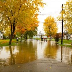 Street in Capehart Community in Bangor. Flooding