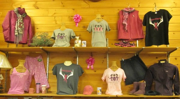Display of &quotFight Like A Girl&quot and &quotSave A Rack&quot tees at Indian Hill Trading Post