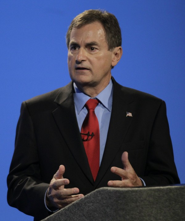Candidate for Indiana's U.S. Senate seat Republican Richard Mourdock participates in a debate with Democrat Joe Donnelly and Libertarian Andrew Horning in Indianapolis, Monday, Oct. 15, 2012.