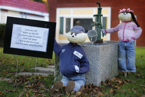 Jack hangs out while Jill fetches a pail of water in front of the local water utility company on Main Street in Kennebunk.