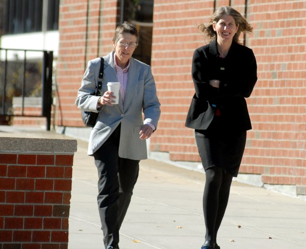 Hancock County Assistant District Attorney Mary Kellett (right) walks to the Penobscot Judicial Center for her prosecutorial misconduct hearing by the Maine Board of Overseers on Tuesday afternoon. She is accused of suppressing evidence that could have helped a former defendant.