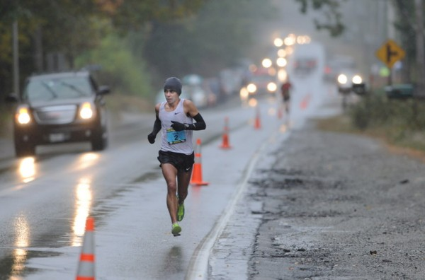 Eventual first-place men's finisher Louie Luchini maintained his lead in Somesville during the Mount Desert Island Marathon on Sunday morning, Oct. 14, 2012. The scenic 26.2 mile road race starts in Bar Harbor and finishes in Southwest Harbor.
