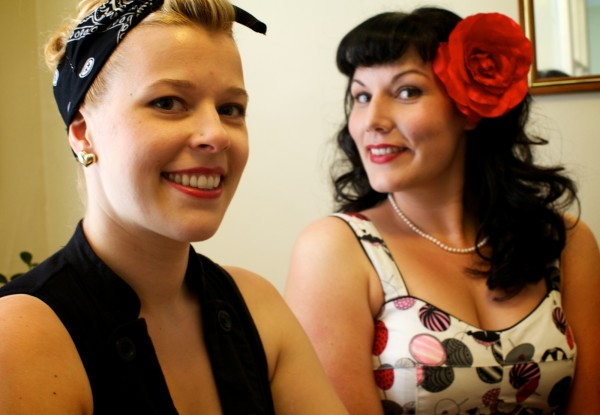Performers Jolene Divine (left) and Vivian Vice are collectively known as Whistlebait Burlesque.
