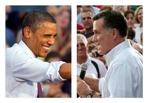 In these Aug. 2012 file photos, President Barack Obama and Republican presidential candidate former Massachusetts Gov. Mitt Romney campaign in swing states, Obama in Leesburg, Va., and Romney in Waukesha, Wis.