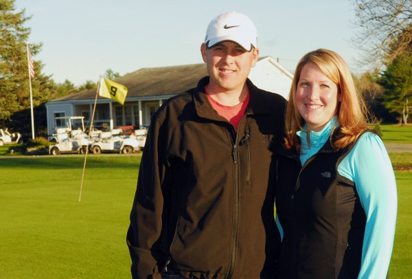 Jason Brooks and Katie LaChance, the new managers of the Pine Hill Golf Course in South Brewer, stand in front of the 9th green on Wednesday, Oct. 24, 2012.