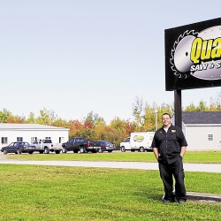 Mike Brasslett is the owner of Quality Saw and Supply, located in West Enfield. The company sells and services saw blades, large diameter knives, grounding knives, and other items used in the forest-products industry.
