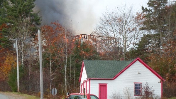 The remains of the First Baptist Church on Liberty Hill Road in Pembroke on Monday, Oct. 29, 2012.