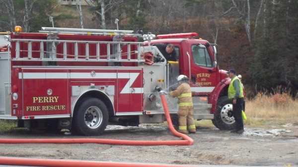 Firefighters respond to the blaze at the First Baptist Church on Liberty Hill Road in Pembroke on Monday, Oct. 29, 2012.