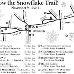 The Snowflake Trail 2012 map, will help you find all of the shops participating as well as a few local restaurants.