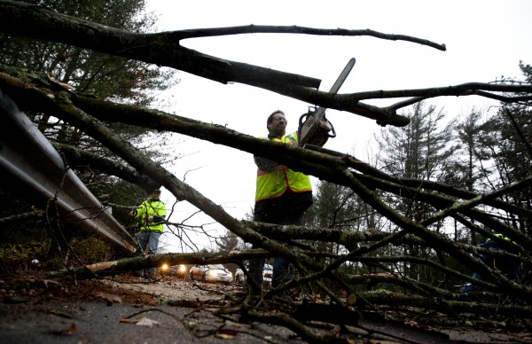 A worker cut a downed tree that fell on a road during the the early stages of Hurricane Sandy, Monday, Oct. 29, 2012, in Old Orchard Beach, Maine. Hurricane Sandy continued on its path Monday, as the storm forced the shutdown of mass transit, schools and financial markets, sending coastal residents fleeing, and threatening a dangerous mix of high winds and soaking rain.