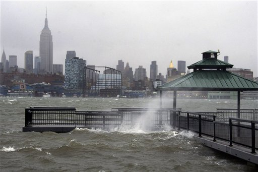 The New York City skyline and Hudson River are seen from Hoboken, N.J. as Hurricane Sandy approaches on Monday, Oct. 29, 2012. Hurricane Sandy continued on its path Monday, as the storm forced the shutdown of mass transit, schools and financial markets, sending coastal residents fleeing, and threatening a dangerous mix of high winds and soaking rain.