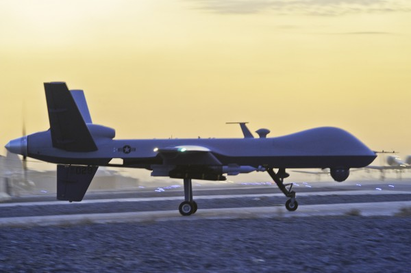 A U.S. MQ-9 Reaper drone taxis at Kandahar Airfield, Afghanistan, in December  2009. Since 2002, armed drones have become an increasingly important element of U.S. national security policy.