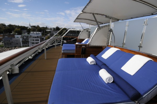 A sun lounge area on an upper deck of the 644-foot condominium vessel, The World, is one of many amenties for the vessel's residents. Eastport was the port of call Tuesday, Oct. 9, 2012 for The World, which is is billed as the &quotworld's largest yacht.&quot