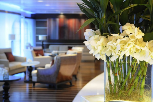 An ultra-modern interior is characteristic one of several bar lounges and much of the other interior spaces aboard of the 644-foot residential vessel The World which made a port of call stop at Eastport Tuesday, Oct. 9, 2012.