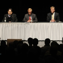 Cynthia Dill (from left), Andrew Dodge, Angus King, Charlie Summers and Steve Woods line the Gracie stage on the Husson University campus on Wednesday, Oct. 17, 2012.