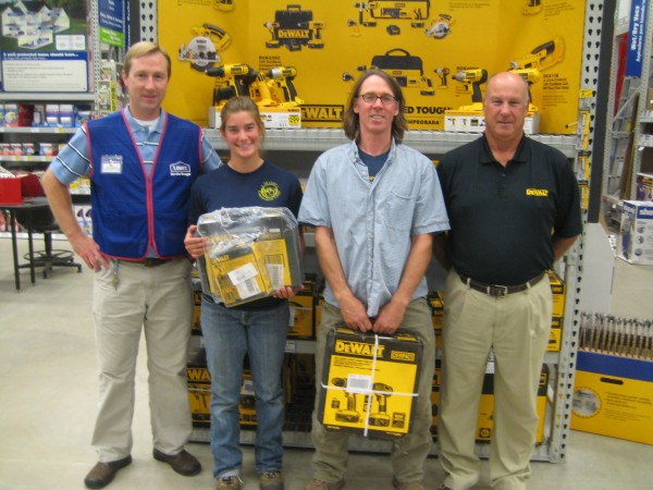 L-R:  Bill Doehring, Store Manager of Lowe's Thomaston; Jackie Stratton, GRLT's AmeriCorps member; Bruce Gerard, GRLT's Trails Manager; and Dick Parlin, Retail Specialist for Stanley Black & Decker.