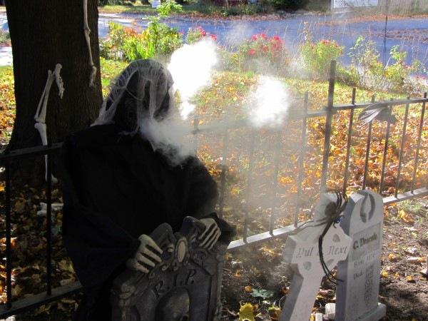 Brian Messing has equipped this figure to spout smoke from its graveyard in Rockland.