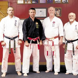 Taking part in this weekend's karate events in Orrington and Orland will be (from left) Steve Apsega, sensei at Maine Traditional Karate in Orrington; visiting instructor Loren Engelby from Minnesota; Hanshi John Shipes from Texas; and Stan Leach, sensei at the Orland Shorin Ryu dojo.
