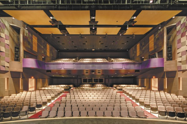 A view of the Hampden Academy auditorium from the stage. The floor has 500 seats; the balcony has 400. A curtain can cordon off the balcony for smaller events. The sound system here is reportedly the best in the state for a public-school theater.