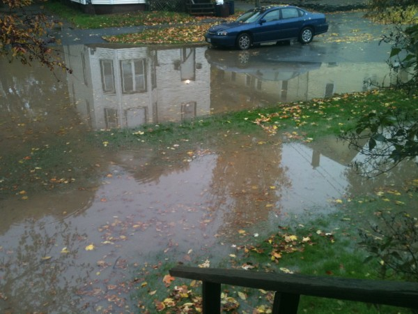 Second Street in Bangor is seen here covered in floodwaters on Saturday, Oct. 20, 2012.