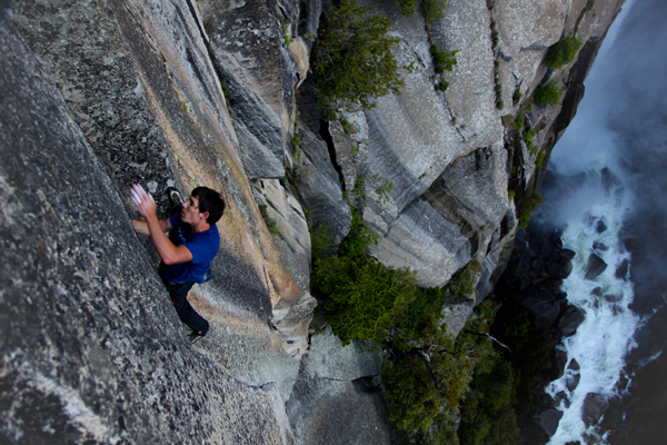 Famous soloist Alex Honnold of California climbs The Phoenix in Yosemite National Park in 2012.