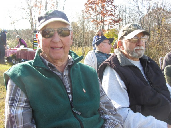 Frank (left) and Alton Parker were students at the Center School and watch the move of the building across Main Street.