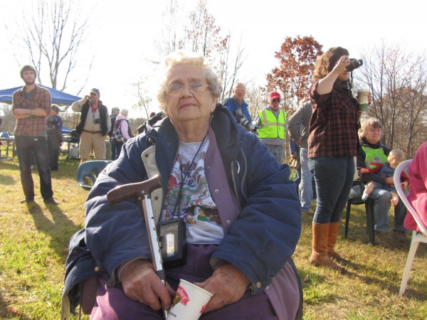 Ruth Felton watches as the former Lincolvnille Center School is moved. She attended school there in the 1930s.