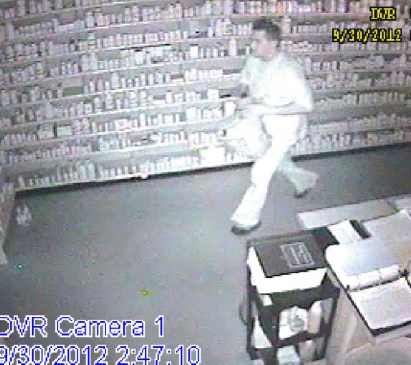 Police are looking for a man who cut a hole in the side of the Unity Pharmacy at about 2 a.m. Sunday and stole enough prescription painkillers to fill his backpack. The man, whom she described as about 5 feet, 6 inches tall, was caught on camera, although the photos are grainy. Anyone with information is requested to call Maine State Police at 624-7076.