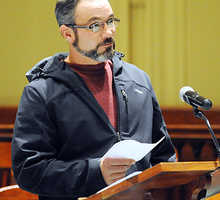Everett T. &quotTyler&quot Leonard, 33, speaks at the sentencing of his father, Everett H. &quotLenny&quot Leonard, on counts of poaching deer and furnishing drugs Wednesday, Nov. 28, 2012 in Androscoggin County Superior Court. &quotPlease forgive him. He just loves me,&quot said Tyler Leonard, who also is facing charges in the investigation.