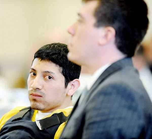 Juan Contreras appears at the Franklin County Courthouse in Farmington with his attorney Christopher Berryment on Monday, Nov. 5, 2012.