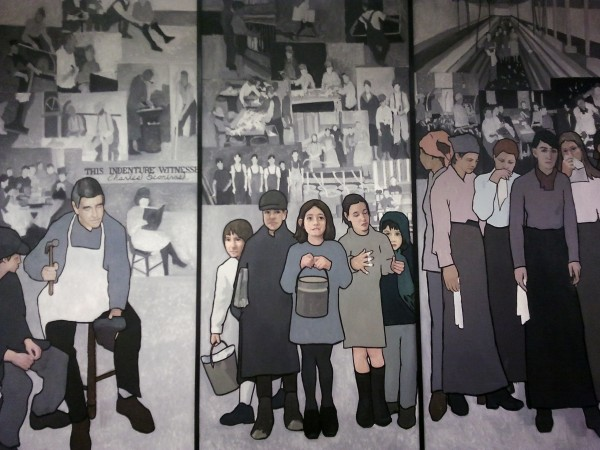 Artist Judy Taylor created a series of panels depicting important times in Maine's labor history.