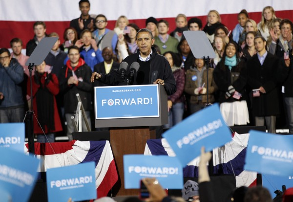 President Barack Obama speaks at a campaign rally at the Community College of Aurora, in Aurora, Colo., Sunday, Nov. 4, 2012.
