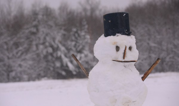 The best kind of snow for a snowman. This one was built in Eddington. About four to six inces of snow blanketed the Bangor region by Thursday morning.