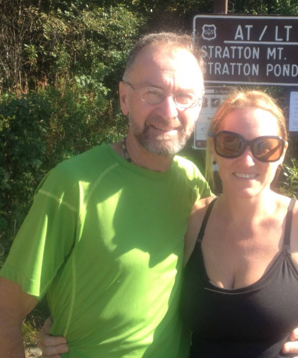 Neil LeBlanc and his fiance Holly Todd of Swanville stop to pose for a photo while hiking the Appalachian Trail through Vermont during the summer of 2012.