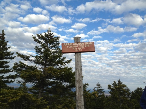 A sign marks the summit of Pleasant Pond Mountain in Maine, one of the many mountains Neil LeBlanc and his fiance Holly Todd climbed while hiking the Appalachian Trail during 2012.