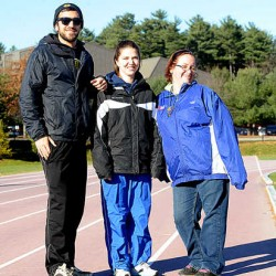 Cross-country ski coach Aaron DeMillo, left, cross-country skier Kala Emery, 25, of Lewiston, and snowshoe racer Tanya Scott, 31, of Mexico, will travel to South Korea in January to compete in the Special Olympics World Winter Games. The two athletes are the only Maine delegates. Emery also represented Maine in the 2007 World Summer Games in China.
